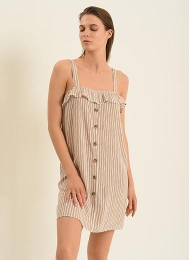 Morhipo Beach Kadın Askılı Çizgili Elbise MBKSS21EL0005 Beyaz